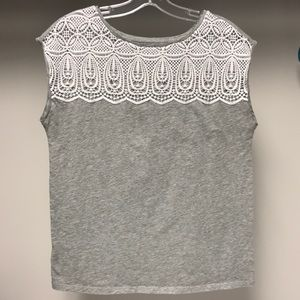 3 for $20 Loft Gray Shirt with White Lace Top